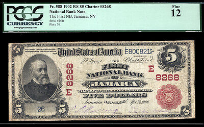 $5 1902 Red Seal The First National Bank of Jamaica, New York  ONE OF TWO KNOWN