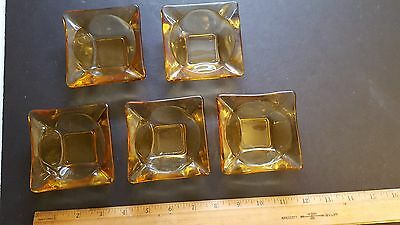 Vintage Lot of 5 Square Yellow Amber Glass Ashtray Cigar Cigarette 3 1/2""