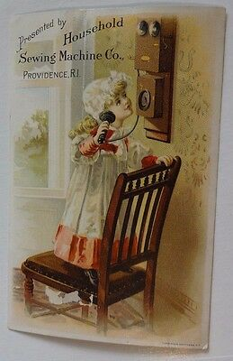 Household Sewing Machine Co. Girl on Antique Telephone Victorian Trade Card