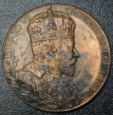 1902 EDWARD VII CROWNED MEDALLION (HUGE) & Alexandra Queen Consort - 55mm Dia.
