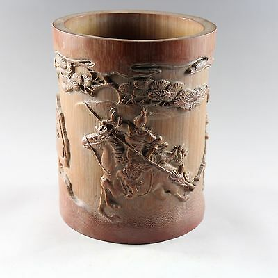 Chinese antique hand carved bamboo brush pot 5471