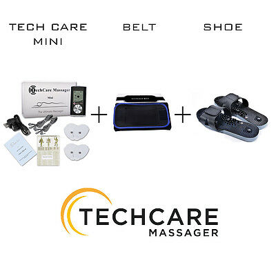Mini Tens Electric Massager Unit + 6 Pads + Belt + Shoes for Sciatica Therapy