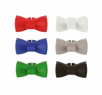 NEW BOW TIE WINE CHARMS SET 6 Re-usable Silicone Glass Stem Markers PURPLESPOILZ