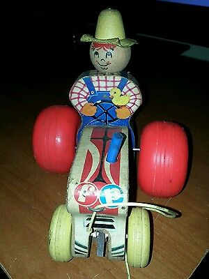 #629 Vintage fisher price tractor & farmer wooden pull toy