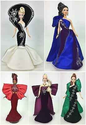 Complete Set Of (5) Bob Mackie Jewel Essence Barbie Used