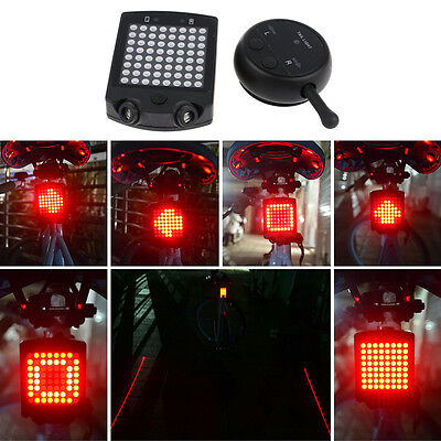 64LED Wireless Remote Laser Bicycle Bike Tail Warning Light USB Rechargeable Hot