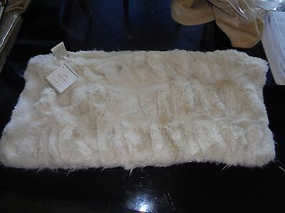 """Pottery Barn  Faux Fur Pillow cover 12 X 24 """" ivory  New"""