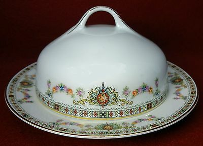 HUTSCHENREUTHER china FLORAL SWAGS HUT443 Round Covered Butter Dish & Lid