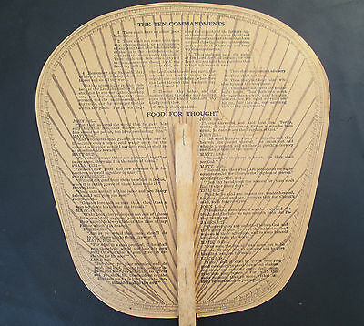 Vintage Advertising Paper Church Fan - 10 Commandments, Undertaking