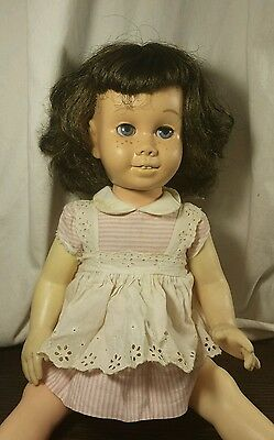 Vintage Blue eyes Brunette Chatty Cathy in Pink Peppermint Mute Soft Face