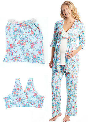 NEW - Everly Grey - Susan 5 Piece Maternity Sleepwear Gift Set in Azure Mist
