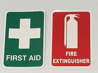 Fire Extinguisher Sticker & First Aid Sticker Small 80mm x 120mm Vehicle Truck