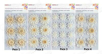 PORTACraft Lace Flowers Embellish Pack ~ 4 Designs Available ~ Scrapbook Craft