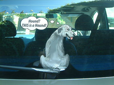 Wolfhound Lover Dog Car Sticker Novelty Gift Collectable With Wiper Wagging Tail
