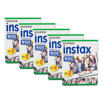 5 Packs 100 Instant Photos Fuji FujiFilm Instax Wide Film Polaroid Camera 300