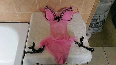 Ann Summers Candy Pink & Black Frilkled Body Size 8  New With Tags