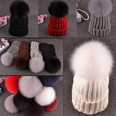Large Ball Women Hat Winter Big Fox Fur Pom Knit Beanie Ski Cap Bobble Hat New