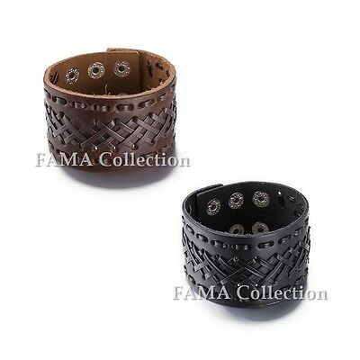 THICK FAMA Weaved Leather Bracelet with Stiched Border in Black or Brown NEW