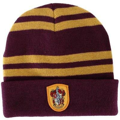 Harry Potter Gryffindor Logo Stripes Knit Beanie Hat Cap Deathly Hallows Gift 04