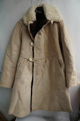 1975 Coat USSR Army  Jacket SHEARLING Sheepskin Tulup Winter Bekesha size 52