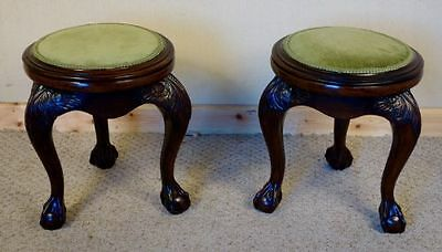 Pair of carved mahogany edwardian stools, nationwide delivery