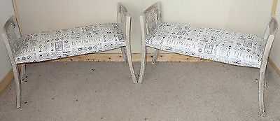 Pair Of Painted Carved Oak Shabby Chic Stools, Nationwide Delivery