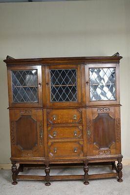 Large Oak Display Cabinet, c.1920, nationwide delivery