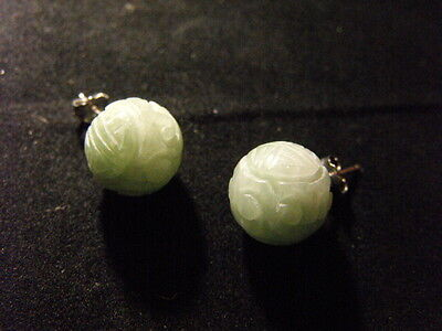 Earrings carved chinese jade silver ball