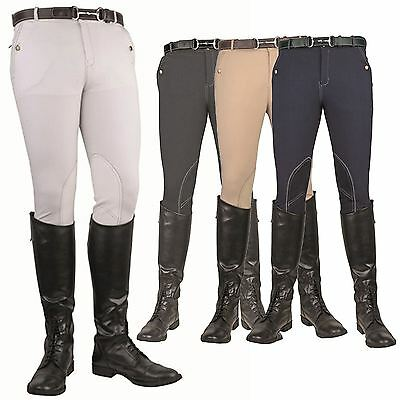 HKM Mens Gents Vera Classic Alos Knee Patch Elastic Stretch Soft Riding Breeches