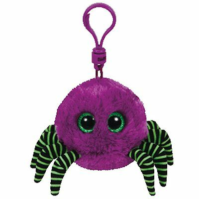 Ty Halloween Beanies Babies Crawler the Purple Spider Bag Clip Plush