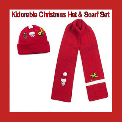 Childrens Unisex  Red Designer Christmas Hat & Scarf Set By Kidorable