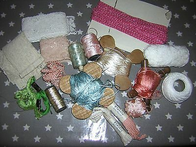 Collection of Vintage Haberdashery including Lace and Silk Thread