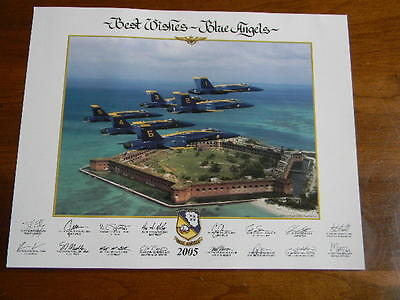 US Navy Blue Angels Fly Over Key West, Florida 2005 Autographed 11 x 14 Photo