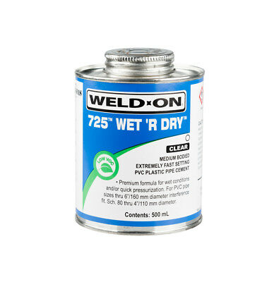 500ml WELD ON WET & DRY 725 SWIMMING POOL PVC-U PLASTIC PIPE CEMENT