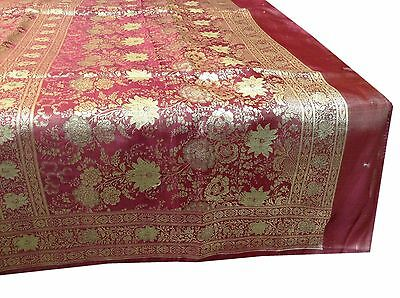 Omsarihouse Vintage Indian Sari Art Silk  Maroon Fully Thread Woven Fabric A9391