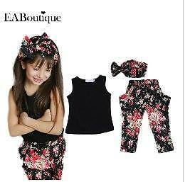 2016 Summer Style Girls Fashion floral casual suit children clothing set sleevel