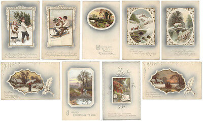 CHRISTMAS 9x Old Postcards by Meissner & Buch, Highest Award Series