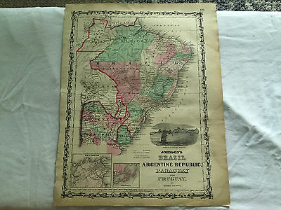 Vintage JOHNSON'S FAMILY ATLAS MAP 1862 BRAZIL ARGENTINE PARAGUAY Illustrated
