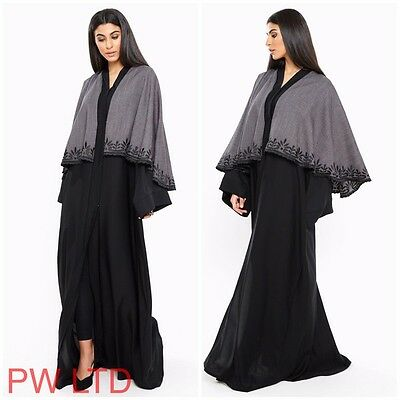 EMBROIDERED CAPE Dubai Style Abaya Maxi Dress Farasha Jalabiya Modest Wear