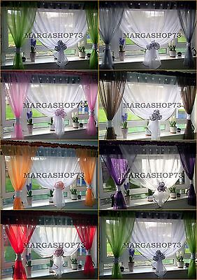 (F7) Beautiful White Voile Net Curtain with Various Colours Piping
