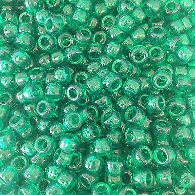 Green Transparent Pony Beads 9x6mm *Fast UK Postage*