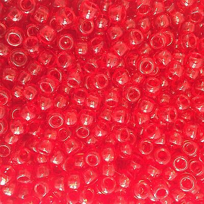 Red Transparent Pony Beads 9x6mm *Fast UK Postage*
