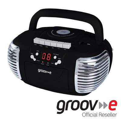 New Genuine Groov-E Retro Boombox Portable Cd Cassette And Radio Player - Black