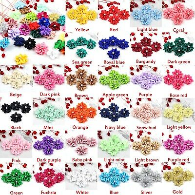 DIY 10-100PCS Satin Ribbon Flowers with Crystal Bead Appliques~Craft/Trim NEW
