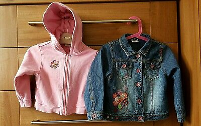 Next Baby Girls Blue Denim Jacket with detachable hoodie. 2-3 years/24-36 month
