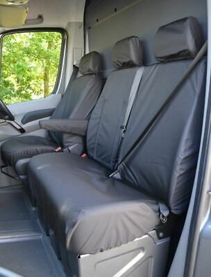 Black Front Seat Covers Fully Tailored Fit Waterproof Van Heavy-Duty VW Crafter