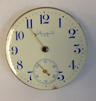 16 Size New York Standard Pocket Watch Movement fancy diall for parts or repair