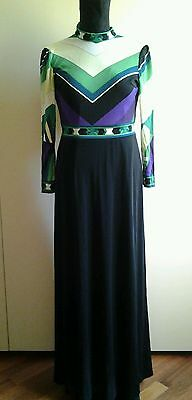 LEONARD FASHION PARIS ABITO LUNGO LONG  DRESS VINTAGE ANNI '70 1970s