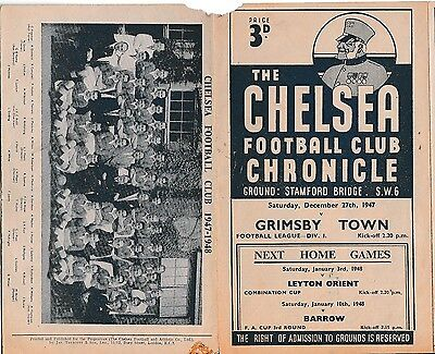 Chelsea v Grimsby Town. Division 1. Saturday, 27th, December, 1947.
