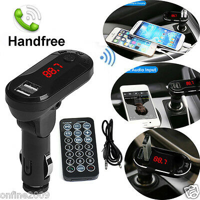 Wireless Bluetooth FM Transmitter MP3 Player Handsfree Car Kit USB Charger SD UK